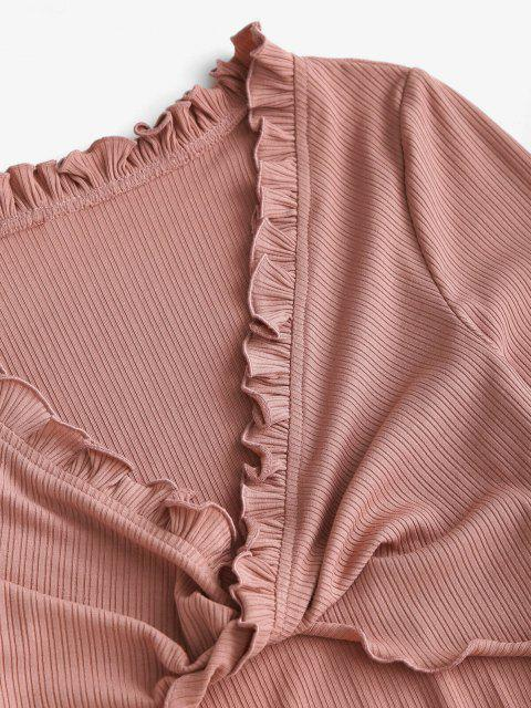 ZAFUL Kopfsalat Trim Tiefe Zweiteilige Shorts Set - Rosa Rose S Mobile
