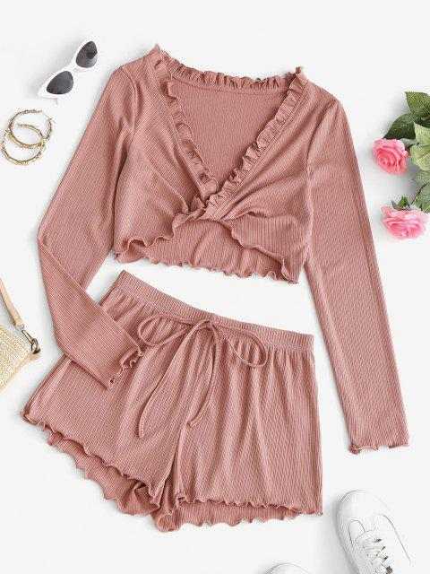 fancy ZAFUL Lettuce Trim Plunge Front Twist Two Piece Shorts Set - PINK ROSE L Mobile