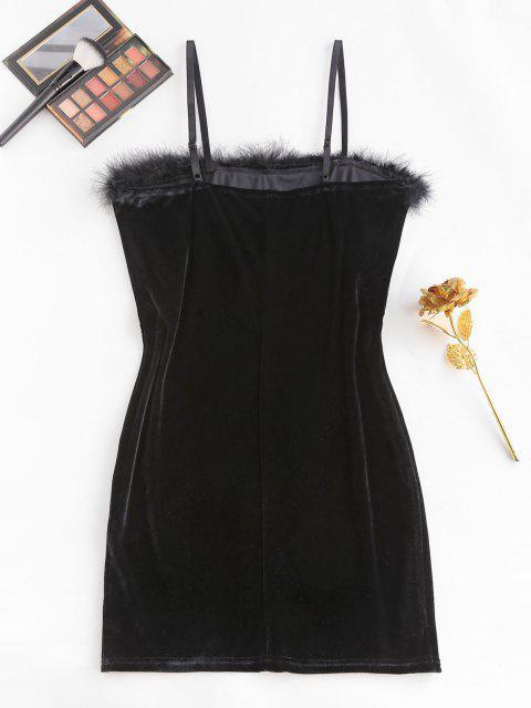 women ZAFUL Plus Size Feather Trim Velvet Slinky Dress - BLACK 3XL Mobile