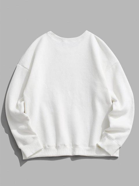 trendy VENICE Fleece Lined Drop Shoulder Sweatshirt - WHITE 2XL Mobile