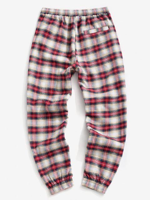 ladies Plaid Print Fleece Jogger Pants - RED 2XL Mobile