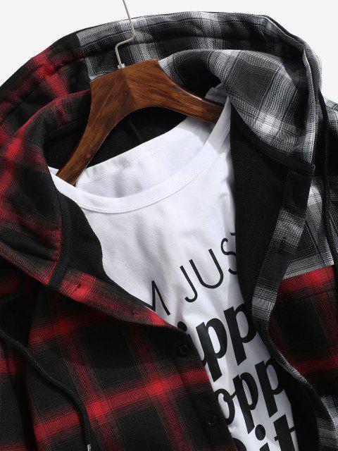 Veste à Capuche à Carreaux Contrastée en Laine - Rouge foncé 2XL Mobile
