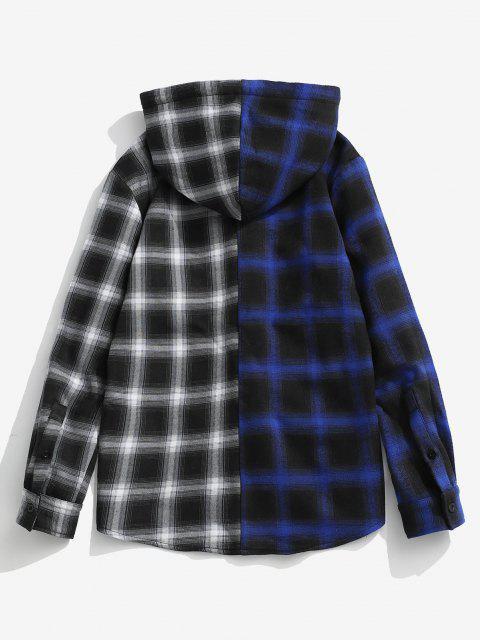 buy Hooded Contrast Plaid Print Fleece Jacket - DEEP BLUE S Mobile