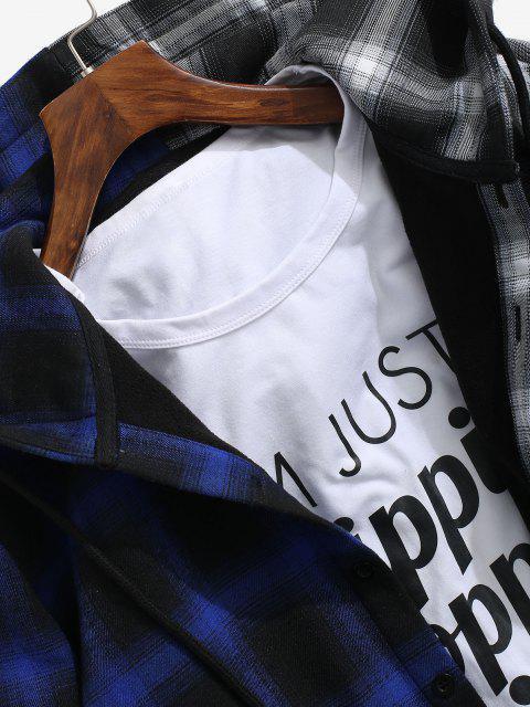 women's Hooded Contrast Plaid Print Fleece Jacket - DEEP BLUE XL Mobile