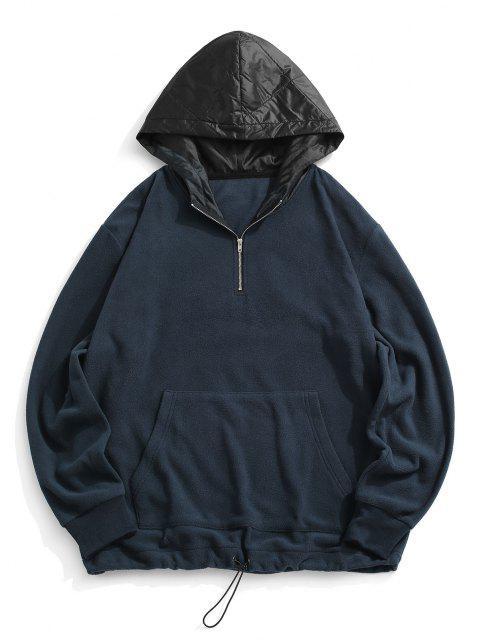 Bloco de Cores Zíper Painel de lã com Capuz - Azul Escuro S Mobile