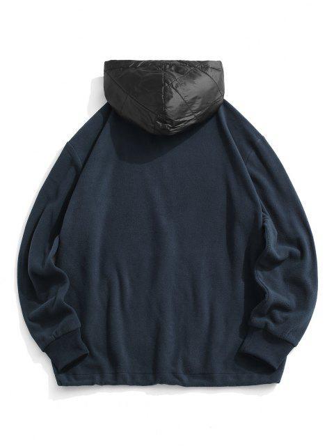 Bloco de Cores Zíper Painel de lã com Capuz - Azul Escuro 2XL Mobile