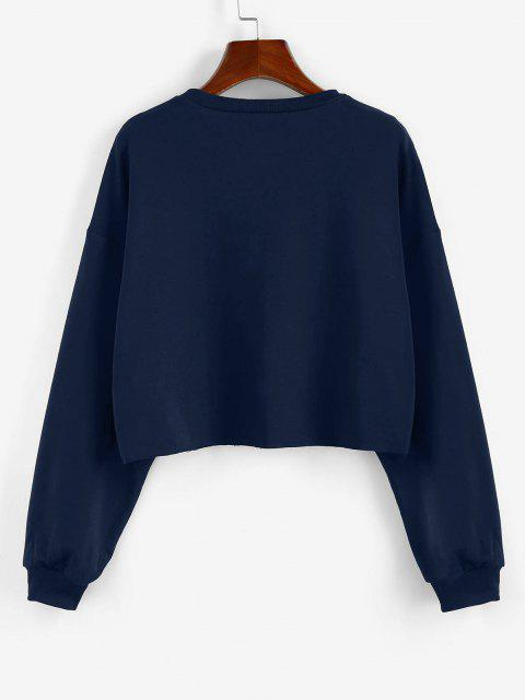 ZAFUL Sweat-shirt Court Lettre Imprimée - Bleu profond S Mobile
