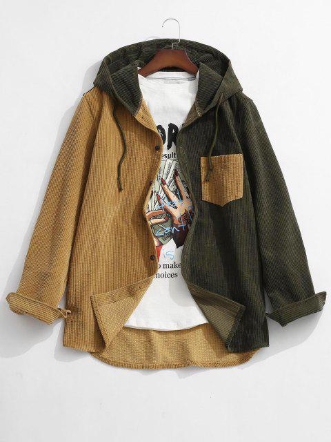 new Colorblock Hooded Corduroy Shirt - DEEP YELLOW M Mobile