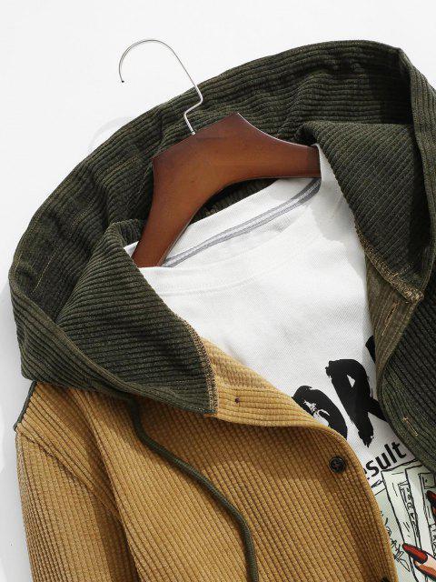 online Colorblock Hooded Corduroy Shirt - DEEP YELLOW S Mobile