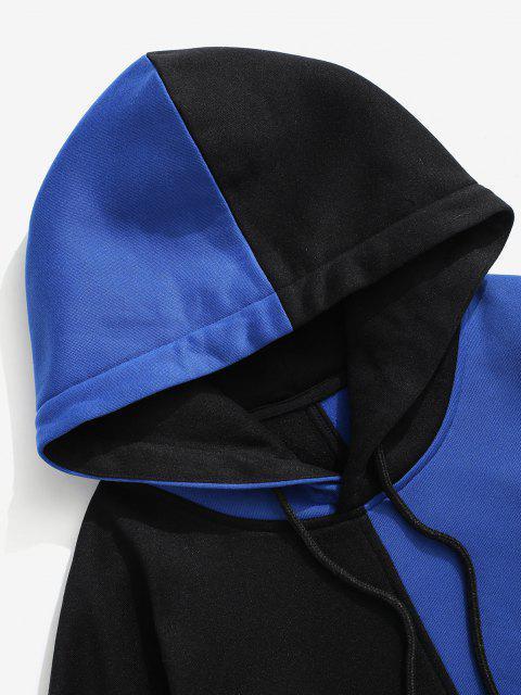 Vlies Gefütterte Farbblock Hoodie - Blau L Mobile