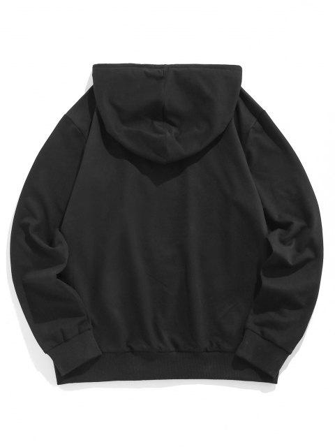 outfits ZAFUL Contrast Pairs Embroidery Hoodie - BLACK S Mobile