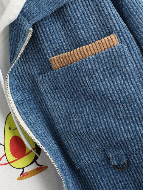 women Colorblock Panel Corduroy Jacket - BLUE S Mobile