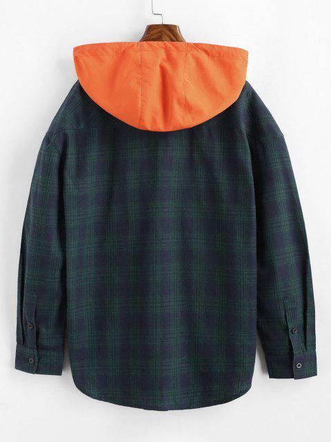 affordable Long Sleeve Plaid Shirt With Colorblock Hood - DEEP BLUE M Mobile