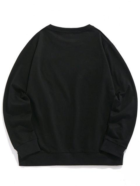 buy ZAFUL Flame Famous Crew Neck Sweatshirt - BLACK S Mobile