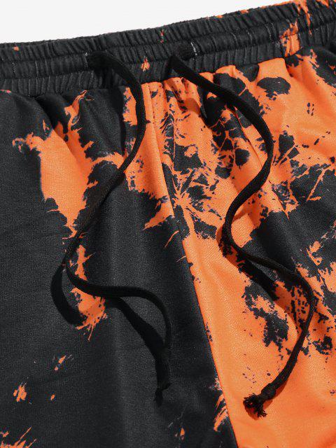 trendy ZAFUL Tie Dye Print Striped Sweatpants - ORANGE L Mobile