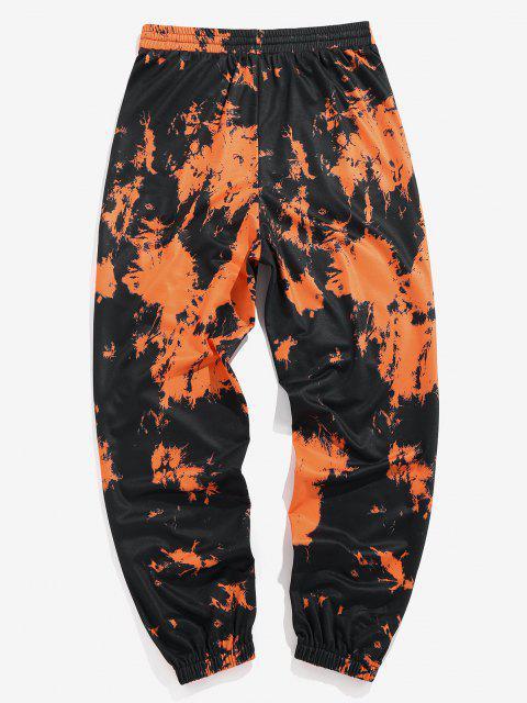 affordable ZAFUL Tie Dye Print Striped Sweatpants - ORANGE XL Mobile