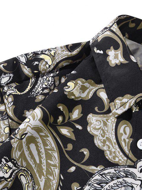 花のヴィンテージ印刷ポケット長袖シャツ - 夜 2XL Mobile