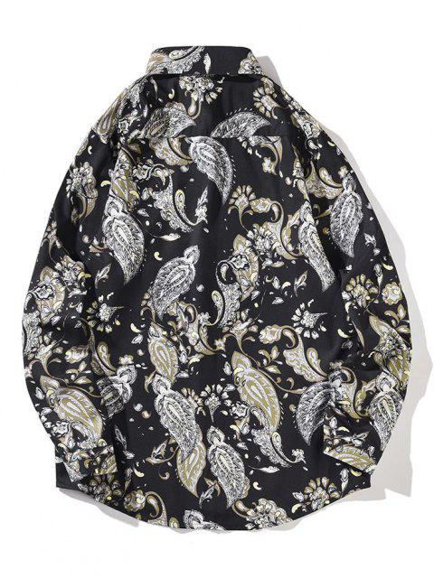 ladies Flower Vintage Print Pocket Long Sleeve Shirt - NIGHT L Mobile
