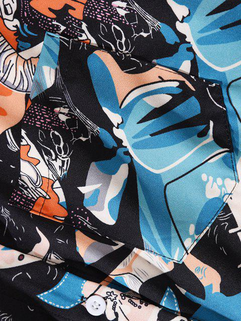 sale Long Sleeve Astronaut Pattern Pocket Shirt - JET BLACK 2XL Mobile