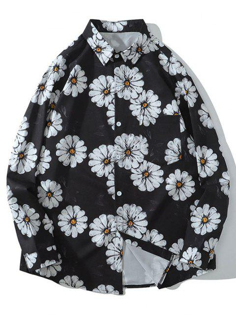 outfits Daisy Print Pocket Long Sleeve Shirt - BLACK XL Mobile