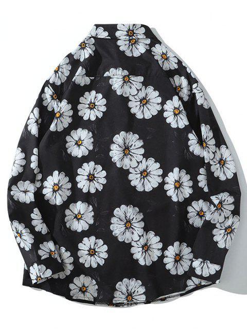 chic Daisy Print Pocket Long Sleeve Shirt - BLACK L Mobile