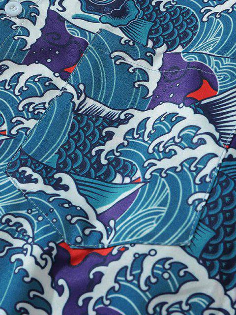unique Japan Style Sea Waves Fish Print Pocket Shirt - SILK BLUE M Mobile