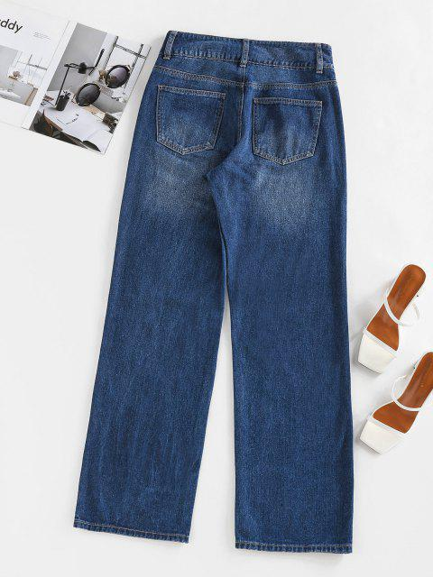 best ZAFUL Knee Ripped High Waisted Straight Jeans - DEEP BLUE L Mobile