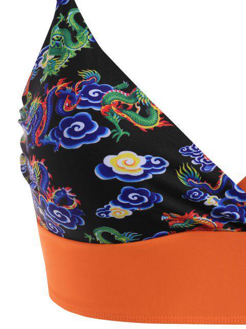ZAFUL Maillot de Bain Bikini Dragon Imprimé à Taille Haute de Grande Taille - Orange Foncé XXL Mobile