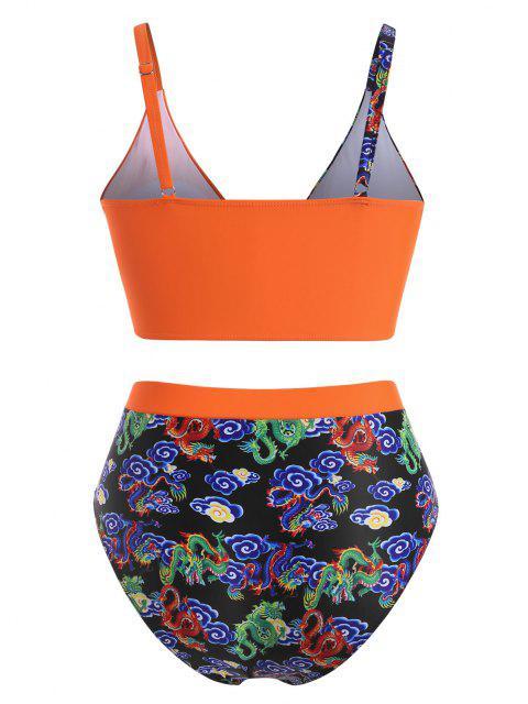 affordable ZAFUL Plus Size Dragon Print Oriental High Waisted Bikini Swimwear - DARK ORANGE XXL Mobile