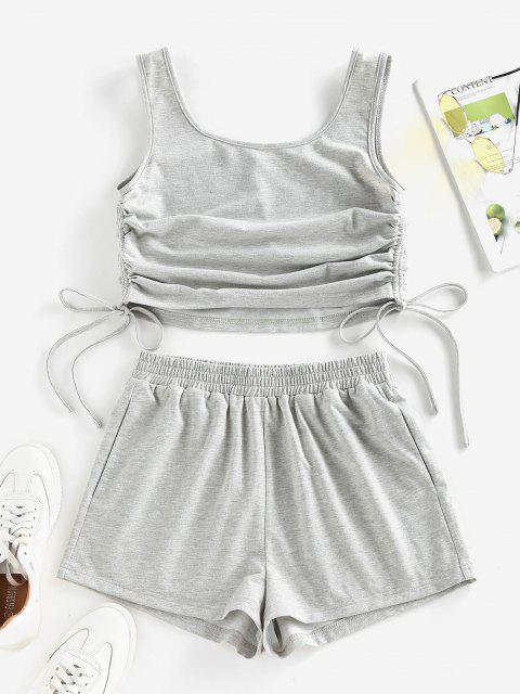 chic ZAFUL Cinched Side Crop Top and Shorts Co Ord Set - LIGHT GRAY XL Mobile