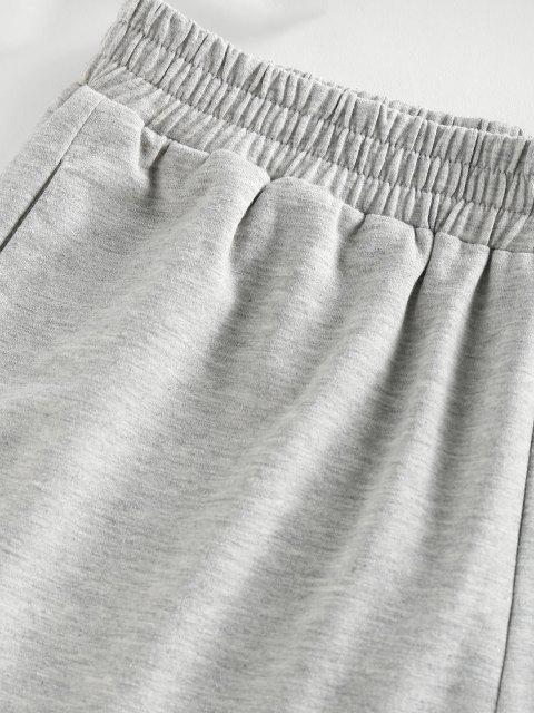 ZAFUL Conjunto de Shorts e Top Barriga de Fora com Lado Marcado Cortado - Cinza claro M Mobile
