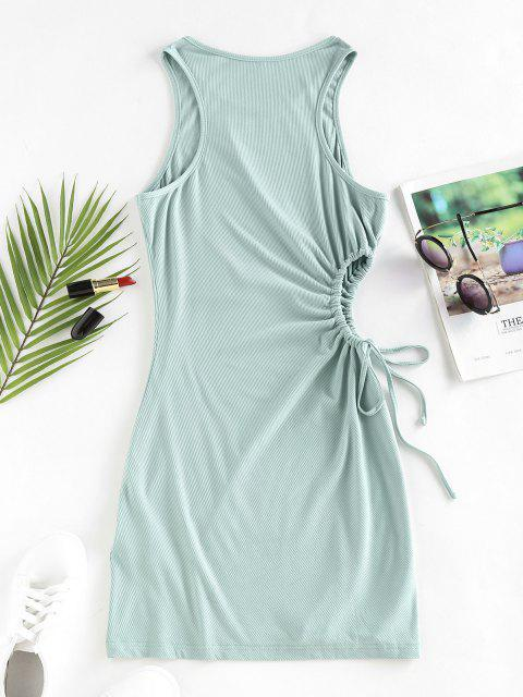ladies ZAFUL Ribbed Tie Cutout Racerback Tank Dress - LIGHT GREEN M Mobile