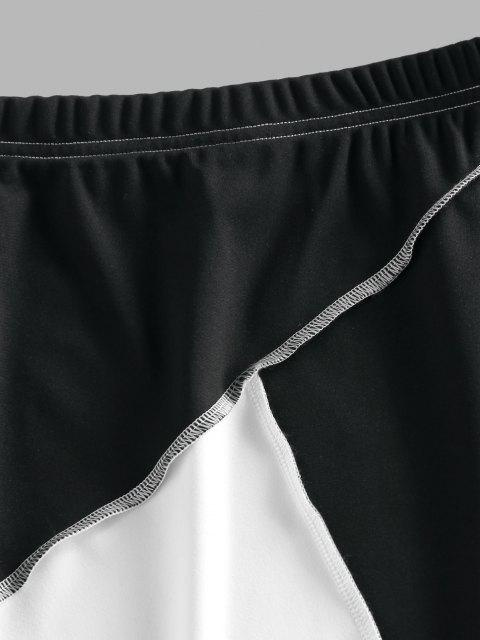 women ZAFUL Two Tone Topstitching Mini Skirt - MULTI S Mobile