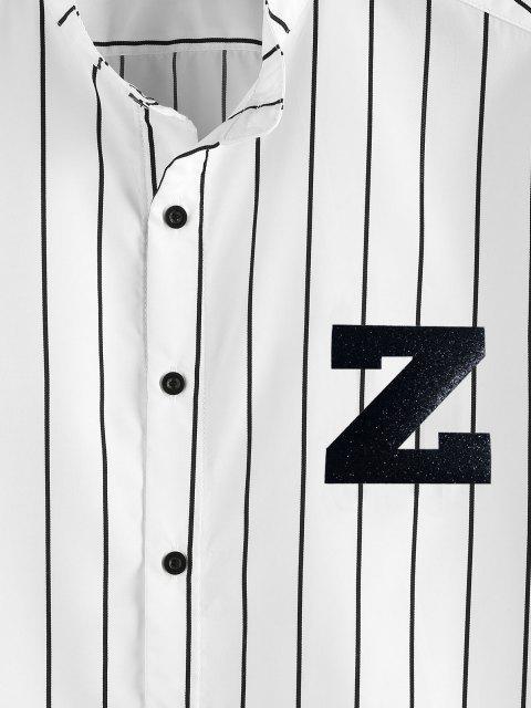 shops ZAFUL Letter Striped Print Button Up Shirt - WHITE L Mobile