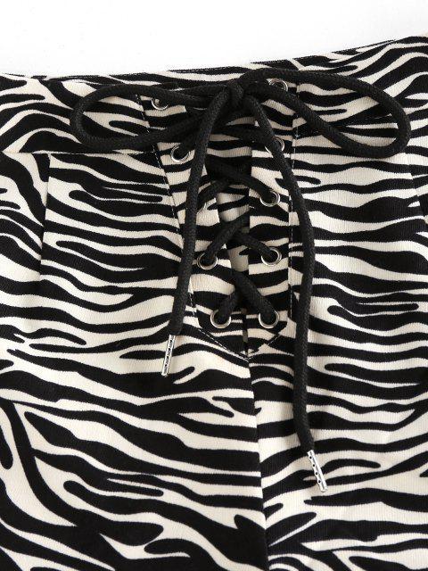 ZAFUL Short Zèbre Imprimé à Taille Haute à Lacets - Noir XL Mobile
