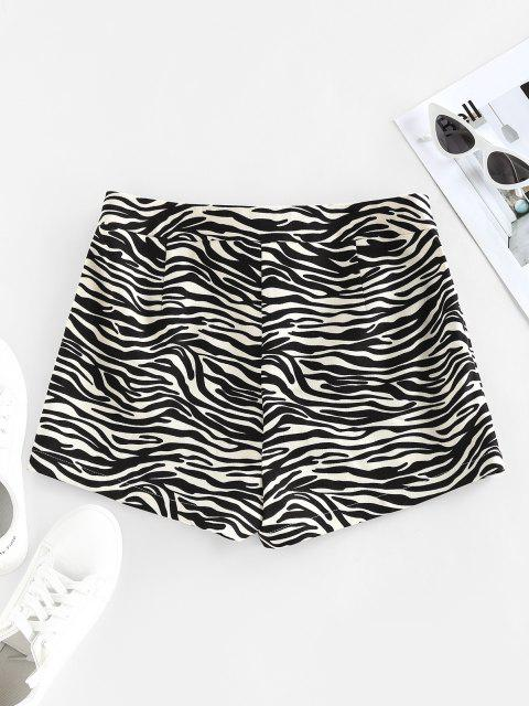 shops ZAFUL Zebra Print Lace Up High Waisted Shorts - BLACK L Mobile
