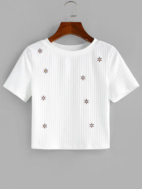 ZAFUL Ribbed Flower Embroidered Crop T Shirt - أبيض S Mobile