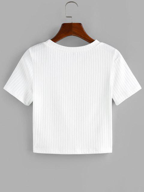 T-Shirt Corta a Costine con Ricamo Floreale di ZAFUL - Bianca S Mobile