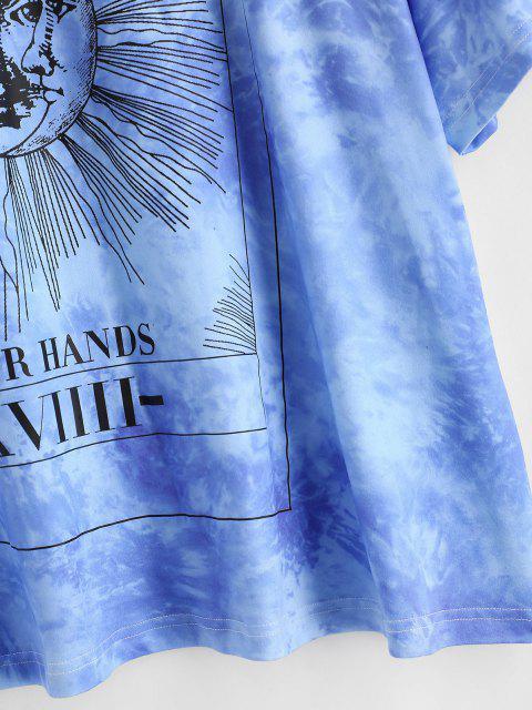 ZAFUL Übergröße Sonnen Protective Krawatte Kurzes T-Shirt - Blau L Mobile