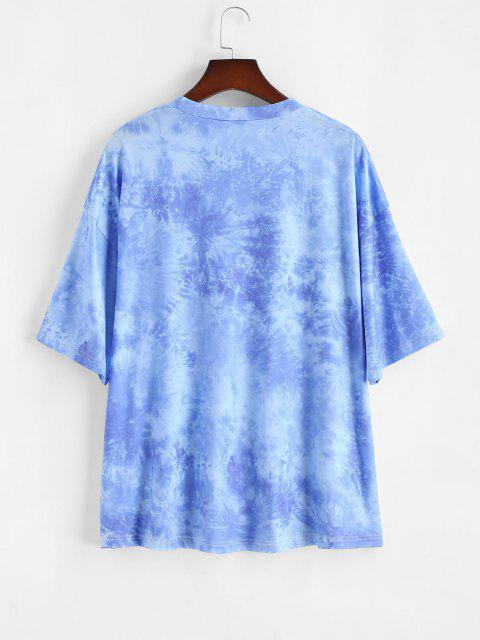 best ZAFUL Plus Size Astrology Tie Dye Sun Print Tee - BLUE 4XL Mobile