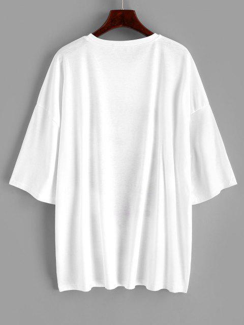 ZAFUL T-shirt Graphique Vintage Style Ouest de Grande Taille - Blanc 5XL Mobile