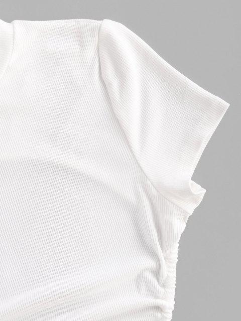 T-Shirt a Costine con Maniche Corte Senza Schienale di ZAFUL - Bianca S Mobile
