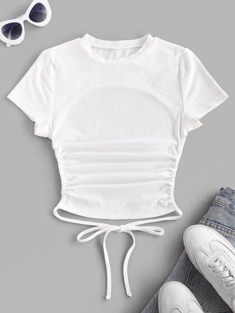 ZAFUL T-shirt de Mangas Curtas com Nervuras Básico nas Costas - Branco XL Mobile