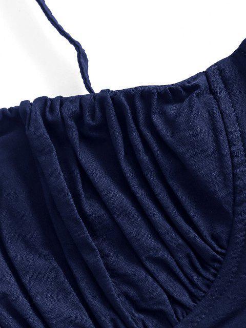 unique Ruched Lace-up Bustier Cami Top - DEEP BLUE S Mobile
