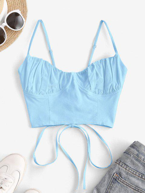 fancy Ruched Lace-up Bustier Cami Top - LIGHT BLUE S Mobile
