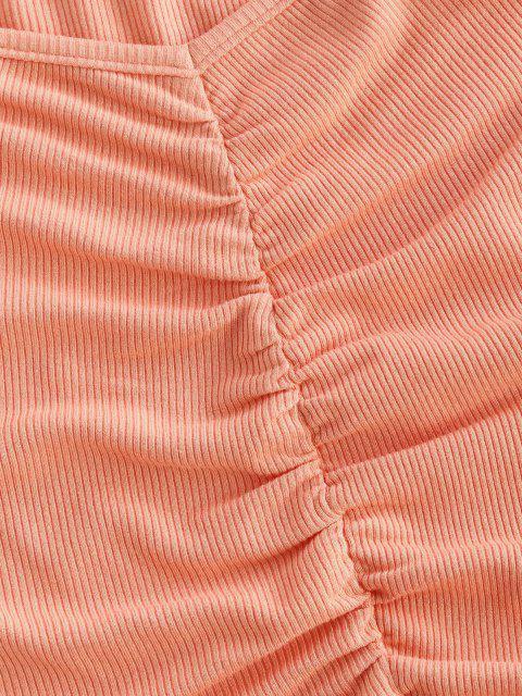 ZAFUL Tee Enrugado com Nervuras com Corte Cortado - Luz rosa L Mobile