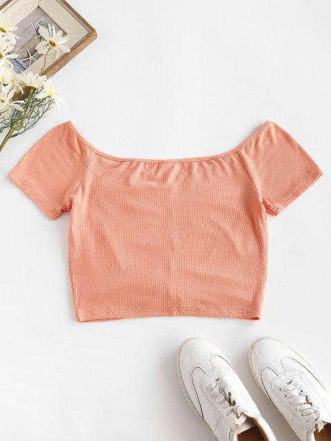 outfit ZAFUL Ribbed Plunge Crop Ruched Baby Tee - LIGHT PINK S Mobile