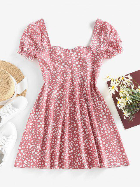unique ZAFUL Ditsy Print Puff Sleeve Ruffle Ruched Mini Dress - LIGHT PINK L Mobile