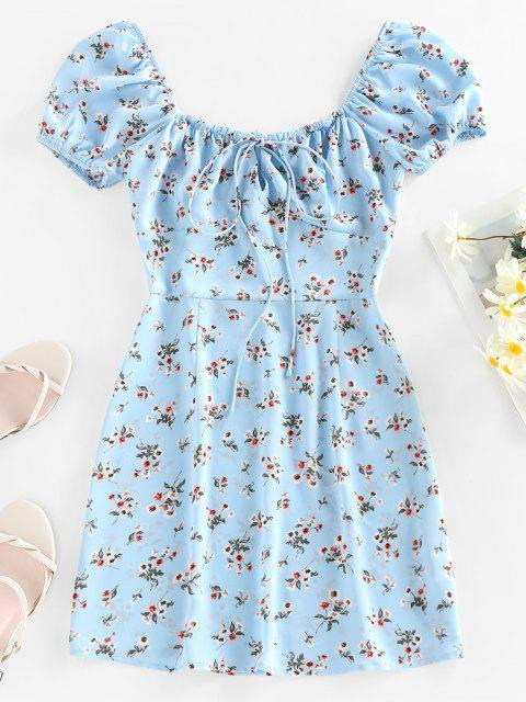 unique ZAFUL Floral Keyhole Bowknot Puff Sleeve Dress - LIGHT BLUE M Mobile
