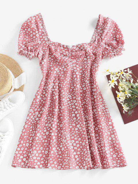 online ZAFUL Ditsy Print Puff Sleeve Ruffle Ruched Mini Dress - LIGHT PINK M Mobile